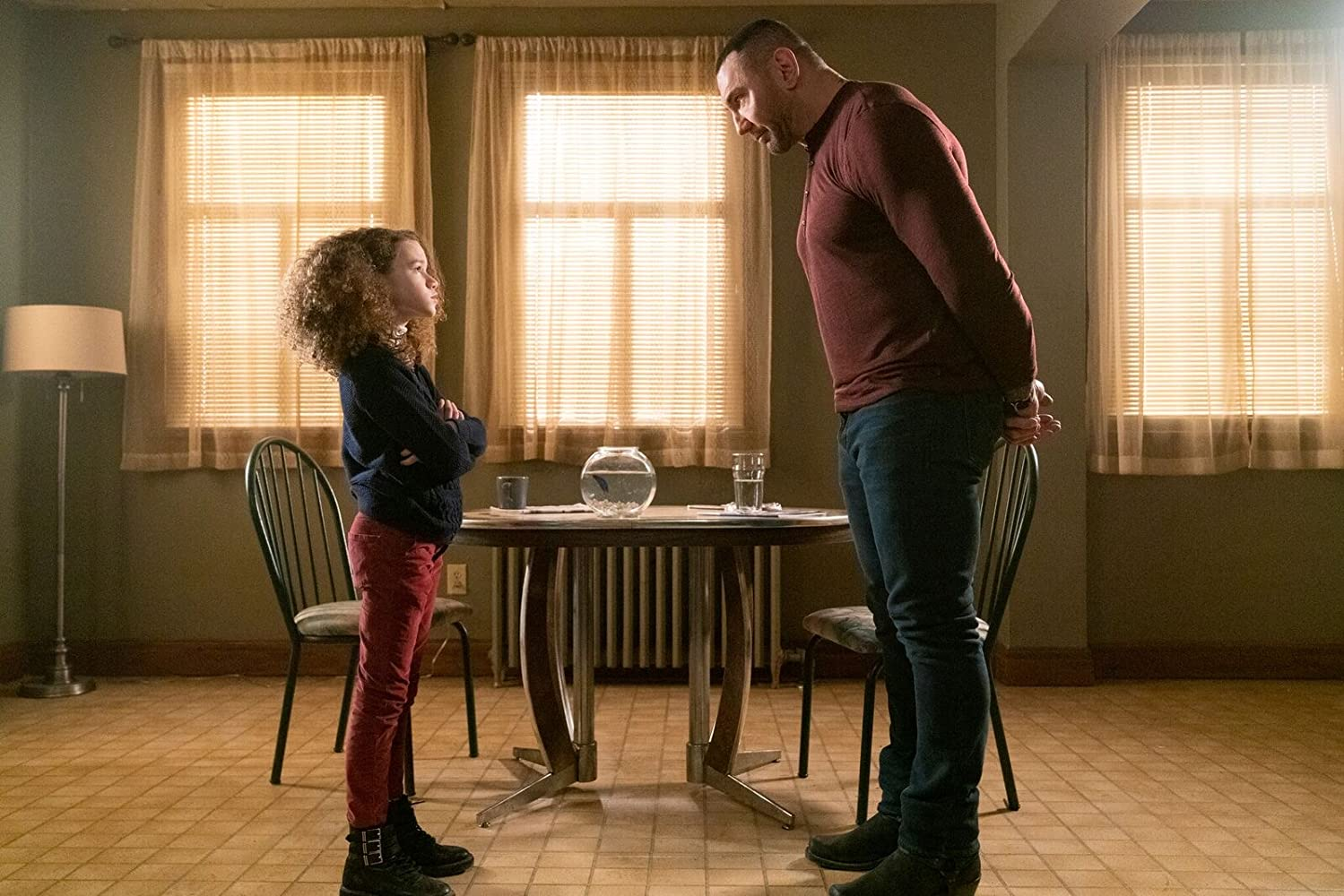 Dave Bautista & Chloe Coleman on set of My Spy for STX
