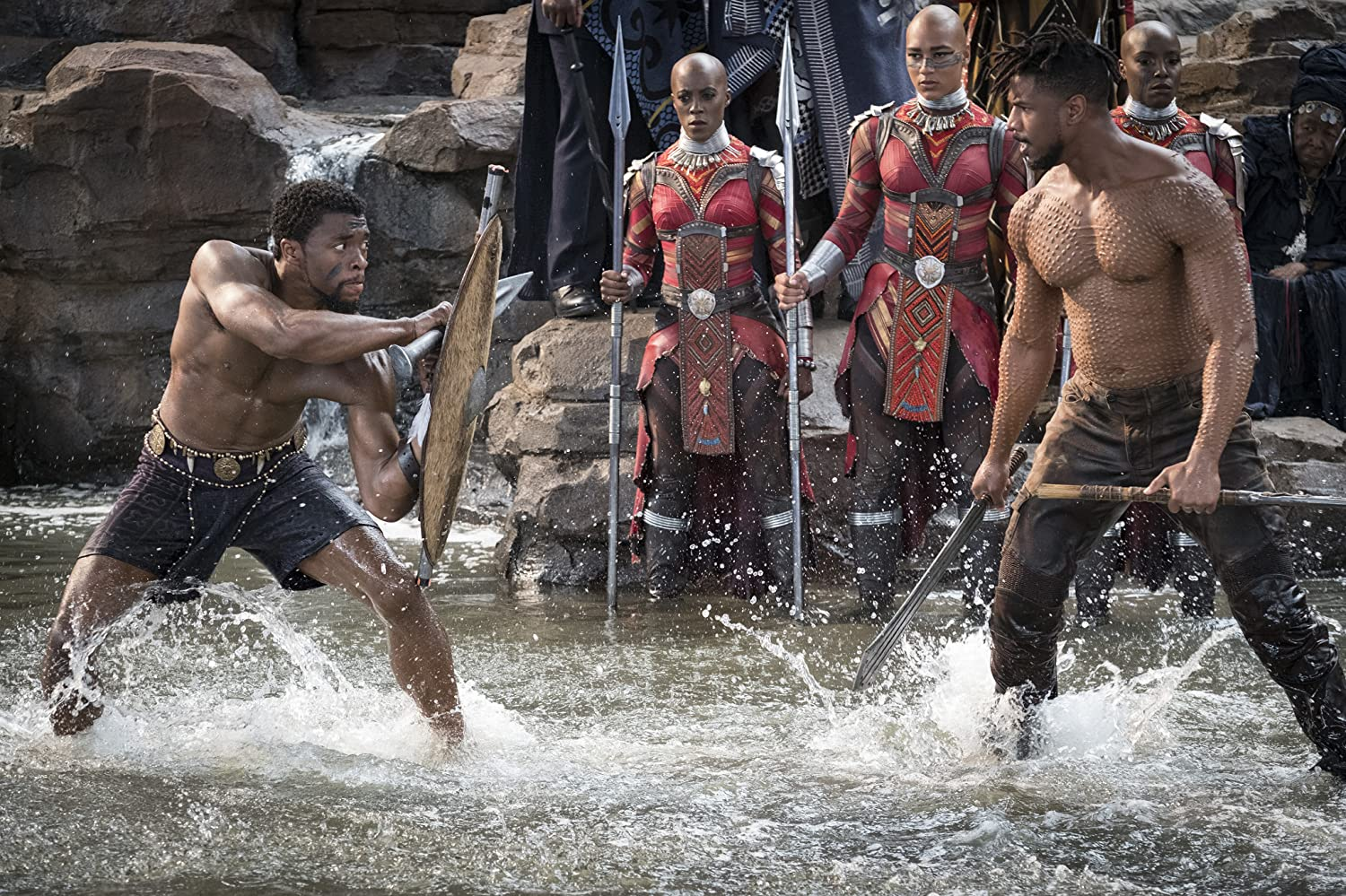 Michael B Jordan Chadwick Boseman Janeshia Adams-Ginyard and Marie Mouroum in Black Panther 2018