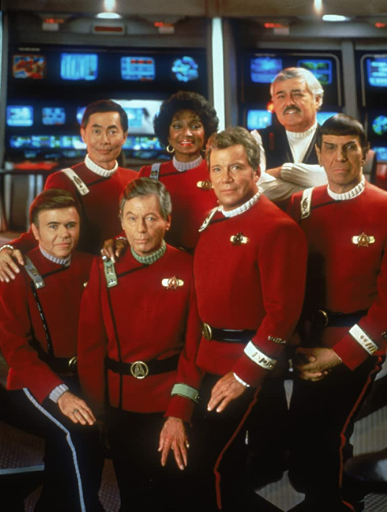 Walter Koenig, Leonard Nimoy, William Shatner, James Doohan, DeForest Kelley, George Takei, and Nichelle Nichols in Star Trek VI: The Undiscovered Country (1991)