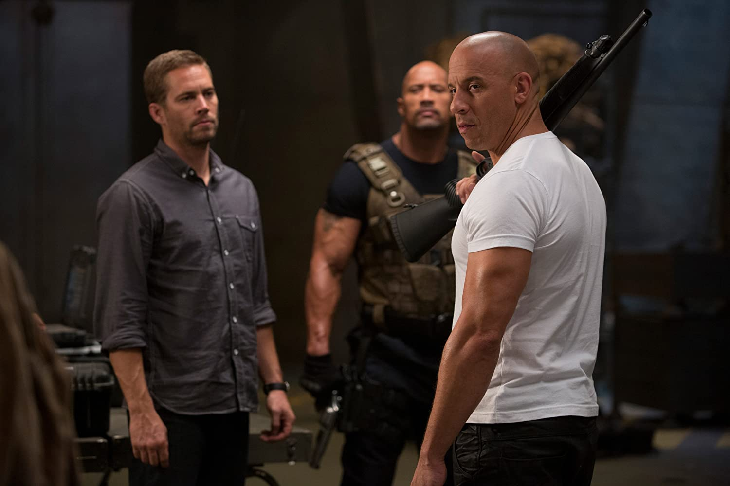 Vin Diesel, Dwayne Johnson, and Paul Walker in Furious 6 (2013)