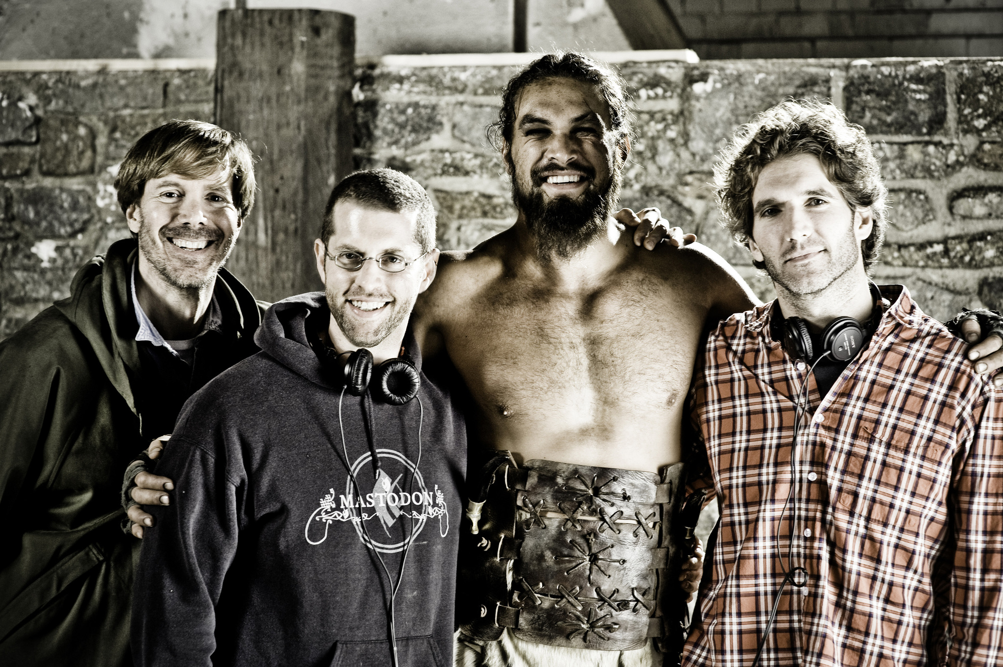 Frank Doelger, Jason Momoa, David Benioff, and D.B. Weiss in Game of Thrones (2011)