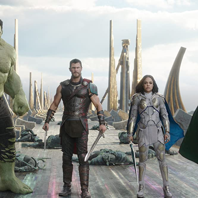 Mark Ruffalo, Tom Hiddleston, Chris Hemsworth, and Tessa Thompson in Thor: Ragnarok (2017)