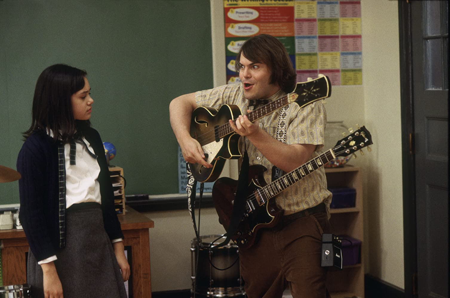 Jack Black and Becca Brown in The School of Rock (2003)