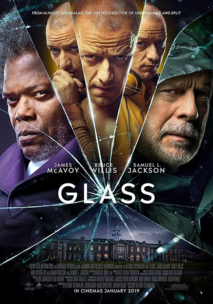Samuel L. Jackson, Bruce Willis, and James McAvoy in Glass (2019) Most anticipated movies of 2019, trailers and release dates