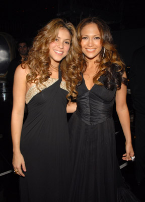 Jennifer Lopez and Shakira at an event for The 48th Annual Grammy Awards (2006)
