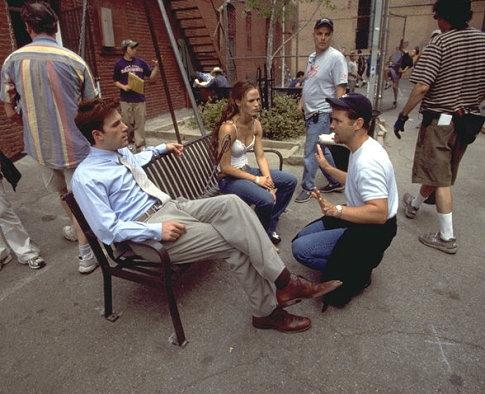 "Mark Steven Johnson (right) directs Ben Affleck (left) and Jennifer Garner (center) on the set of ""Daredevil""."