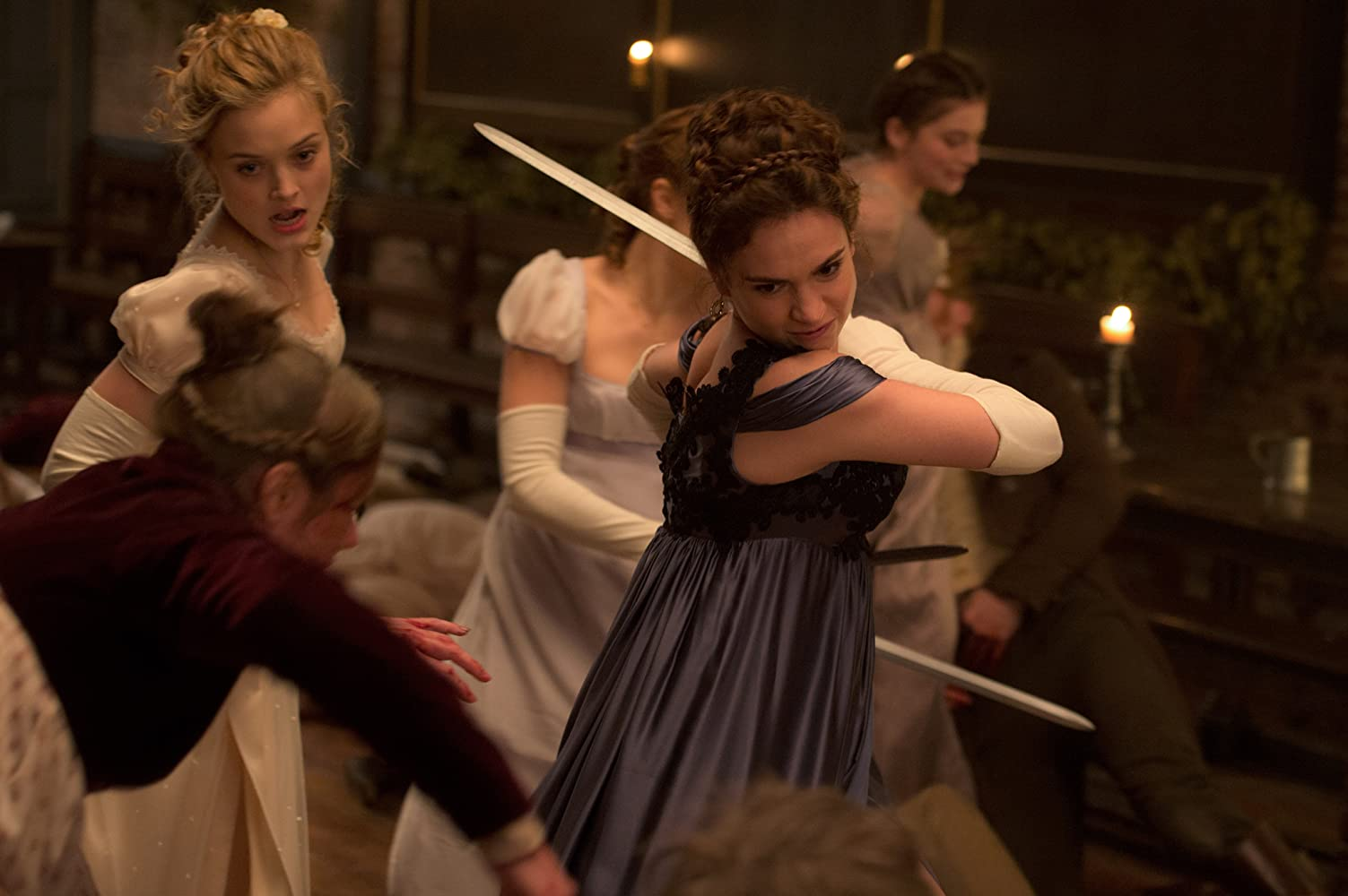 Bella Heathcote, Suki Waterhouse, Lily James, Ellie Bamber, and Millie Brady in Pride and Prejudice and Zombies (2016)