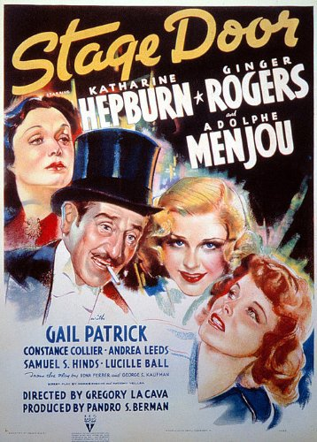 Katharine Hepburn, Lucille Ball, Ginger Rogers, Adolphe Menjou, and Gail Patrick in Stage Door (1937)