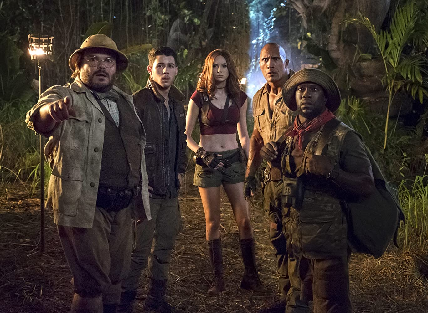 Jack Black, Kevin Hart, Dwayne Johnson, Karen Gillan, and Nick Jonas in Jumanji: Welcome to the Jungle (2017)