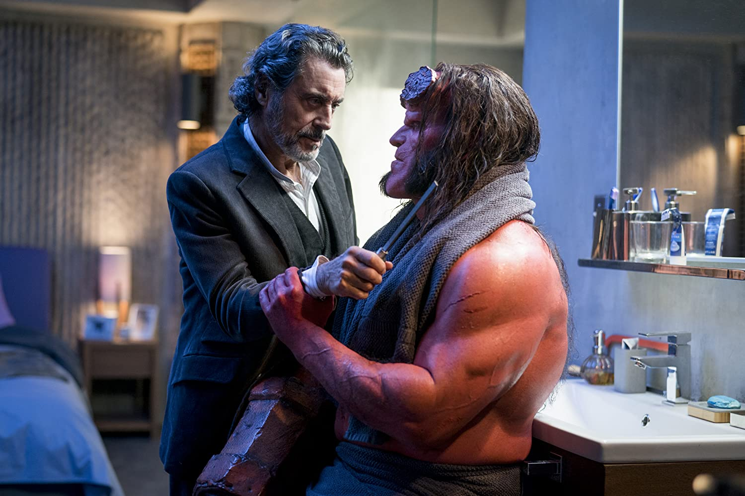Ian McShane and David Harbour in Hellboy (2019)