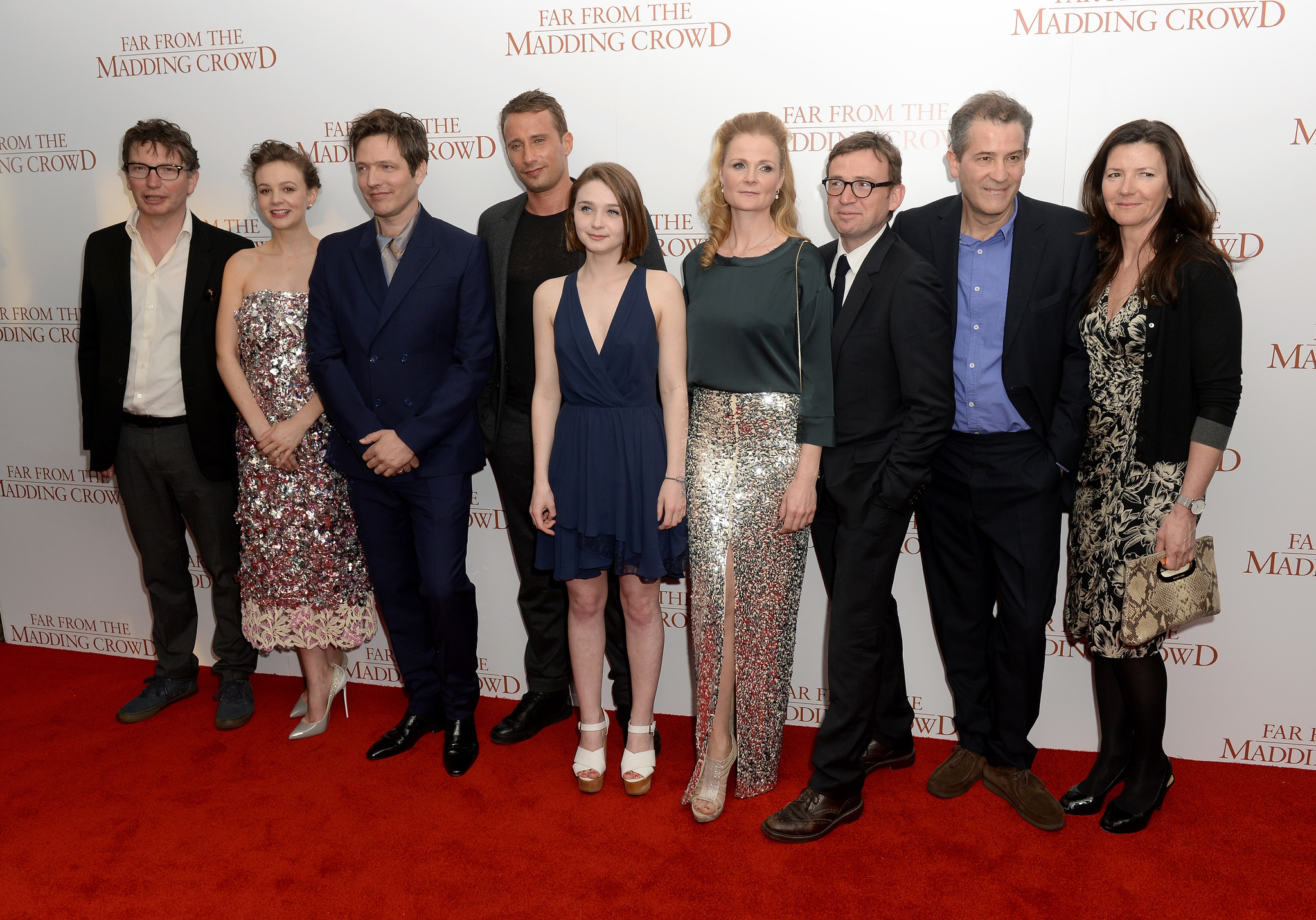 David Nicholls, Andrew Macdonald, Allon Reich, Matthias Schoenaerts, Thomas Vinterberg, Carey Mulligan, and Jessica Barden at an event for Far from the Madding Crowd (2015)