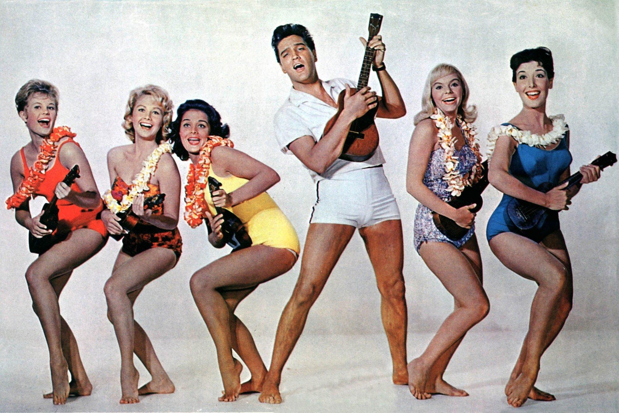 Elvis Presley, Pamela Austin, Joan Blackman, Christian Kay, Jenny Maxwell, Darlene Tompkins, and Nancy Walters in Blue Hawaii (1961)