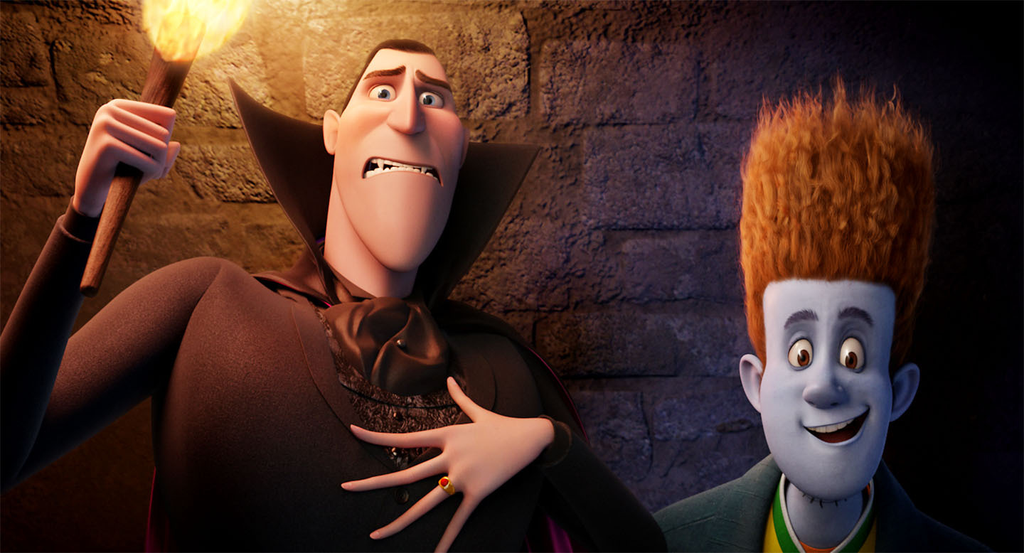 Dracula (voiced by Adam Sandler) attempts to shepherd diguised human Johnnystein (voiced by Andy Samberg) out of his resort for monsters
