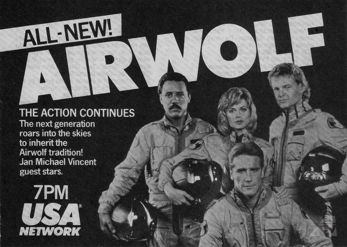Michele Scarabelli, Anthony Sherwood, Barry Van Dyke, and Geraint Wyn Davies in Airwolf (1987)