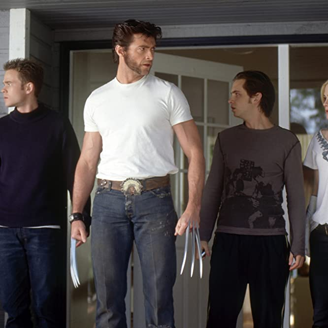 Anna Paquin, Shawn Ashmore, Hugh Jackman, and Aaron Stanford in X2: X-Men United (2003)