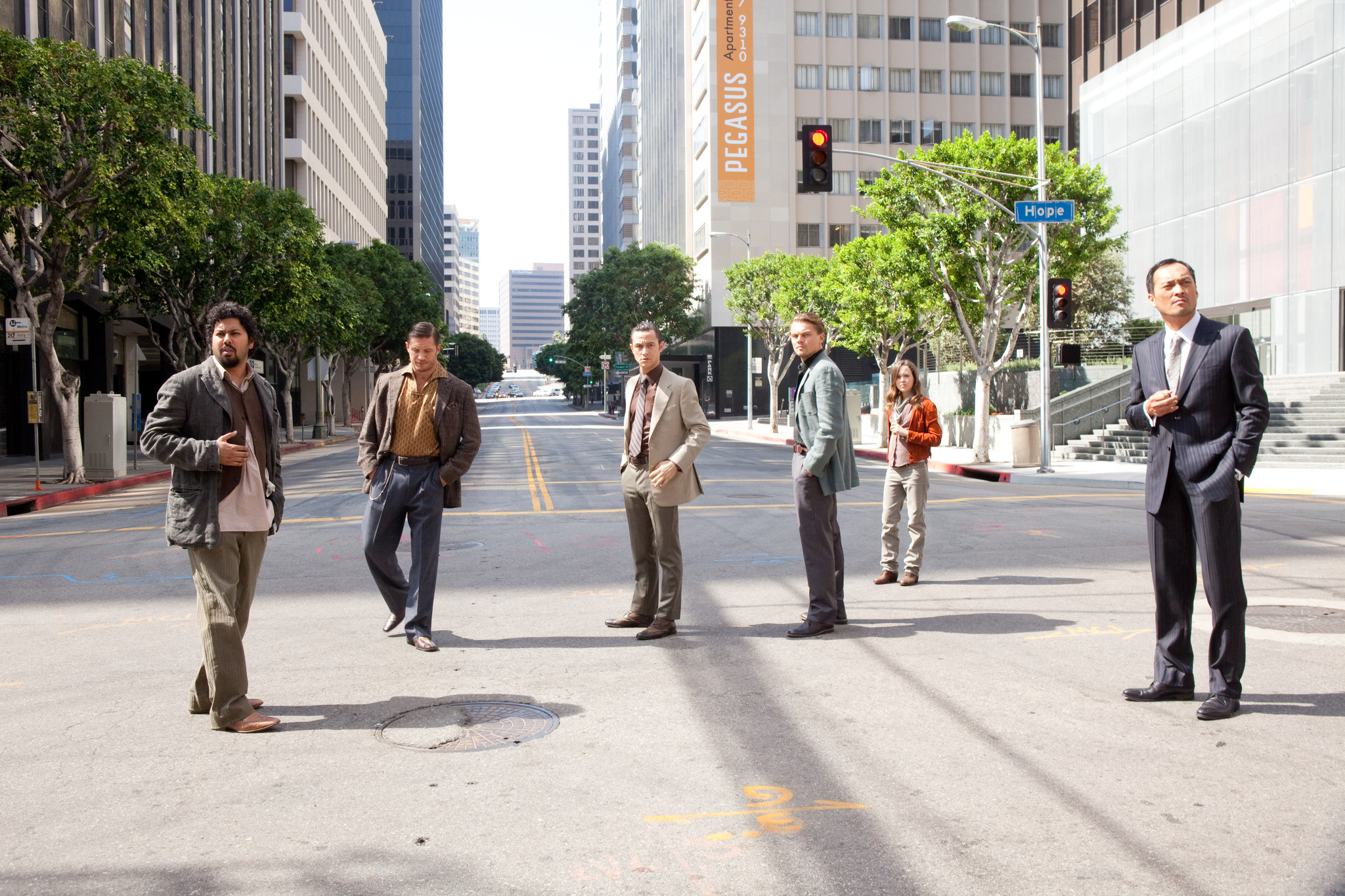 Leonardo DiCaprio, Joseph Gordon-Levitt, Tom Hardy, Elliot Page, Ken Watanabe, and Dileep Rao in Inception (2010)
