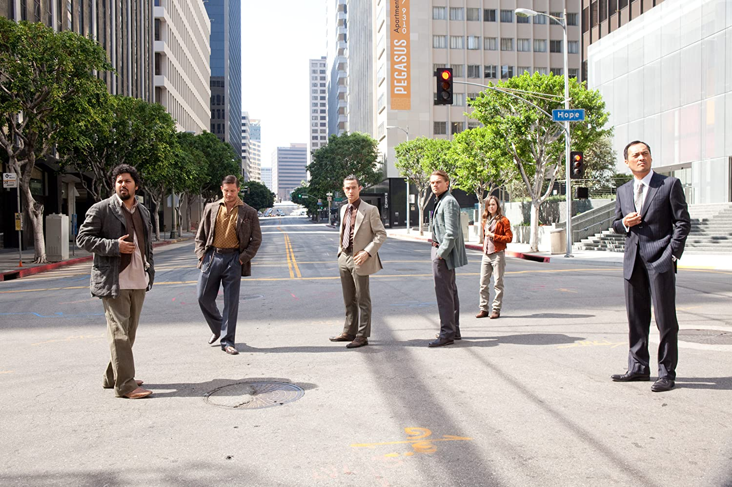 Leonardo DiCaprio, Joseph Gordon-Levitt, Tom Hardy, Ellen Page, Ken Watanabe, and Dileep Rao in Inception (2010)