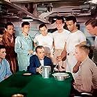 Humphrey Bogart, Van Johnson, Herbert Anderson, James Best, Steve Brodie, James Edwards, Robert Francis, Arthur Franz, Fred MacMurray, and Jerry Paris in The Caine Mutiny (1954)