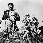Toshirô Mifune, Minoru Chiaki, Yoshio Inaba, Daisuke Katô, Isao Kimura, Seiji Miyaguchi, and Takashi Shimura in Shichinin no samurai (1954)