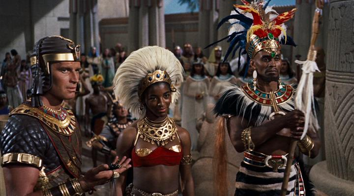 Charlton Heston, Esther Brown, and Woody Strode in The Ten Commandments (1956)