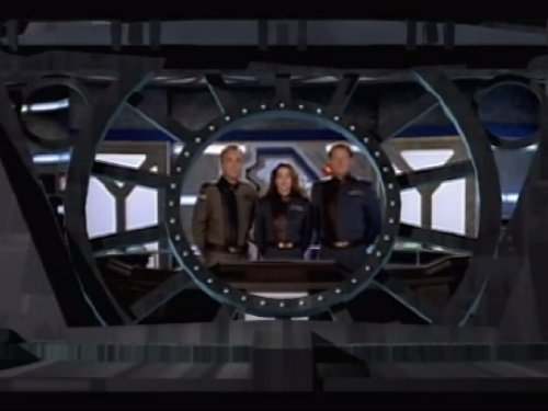 Bruce Boxleitner, Claudia Christian, and Jerry Doyle in Babylon 5 (1993)