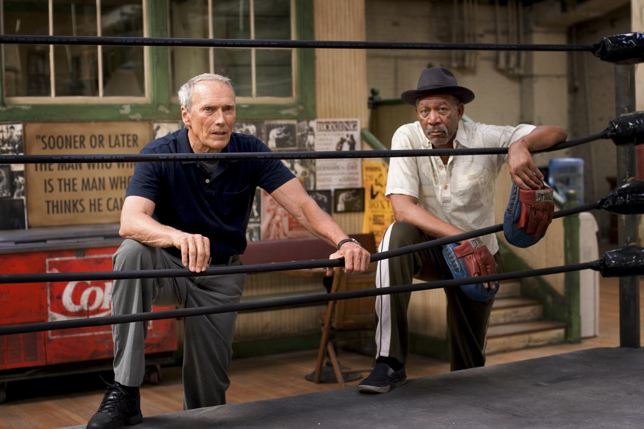 Clint Eastwood and Morgan Freeman in Million Dollar Baby (2004)