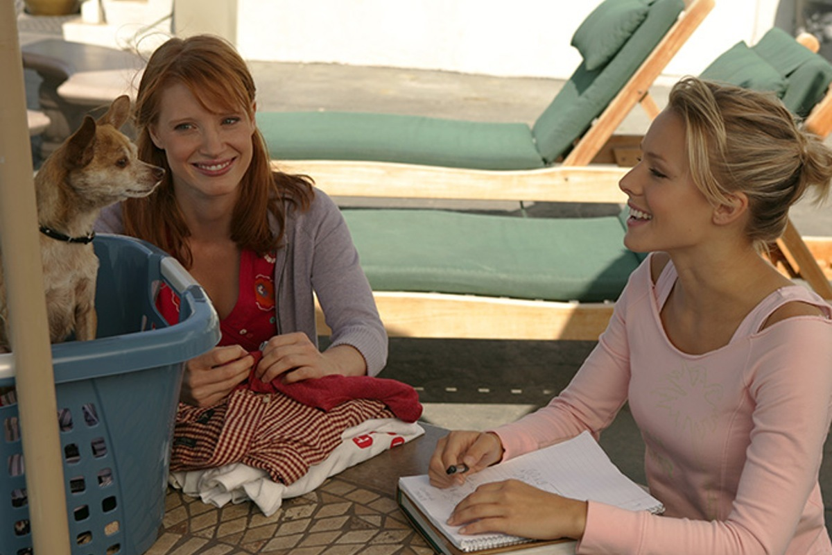 Kristen Bell and Jessica Chastain in Veronica Mars (2004)