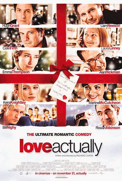 Rowan Atkinson, Colin Firth, Hugh Grant, Liam Neeson, Alan Rickman, Emma Thompson, Laura Linney, Keira Knightley, Martine McCutcheon, and Bill Nighy in Love Actually (2003)