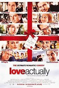 Rowan Atkinson, Colin Firth, Hugh Grant, Liam Neeson, Alan Rickman, Emma Thompson, Laura Linney, Keira Knightley, Martine McCutcheon, and Bill Nighy in Love Actually (2003)