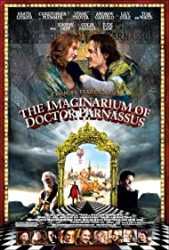 Johnny Depp, Jude Law, Christopher Plummer, Tom Waits, Heath Ledger, Colin Farrell, Verne Troyer, Andrew Garfield, and Lily Cole in The Imaginarium of Doctor Parnassus (2009)