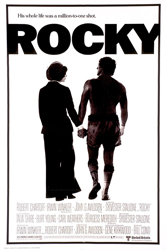 Sylvester Stallone and Talia Shire in Rocky (1976)