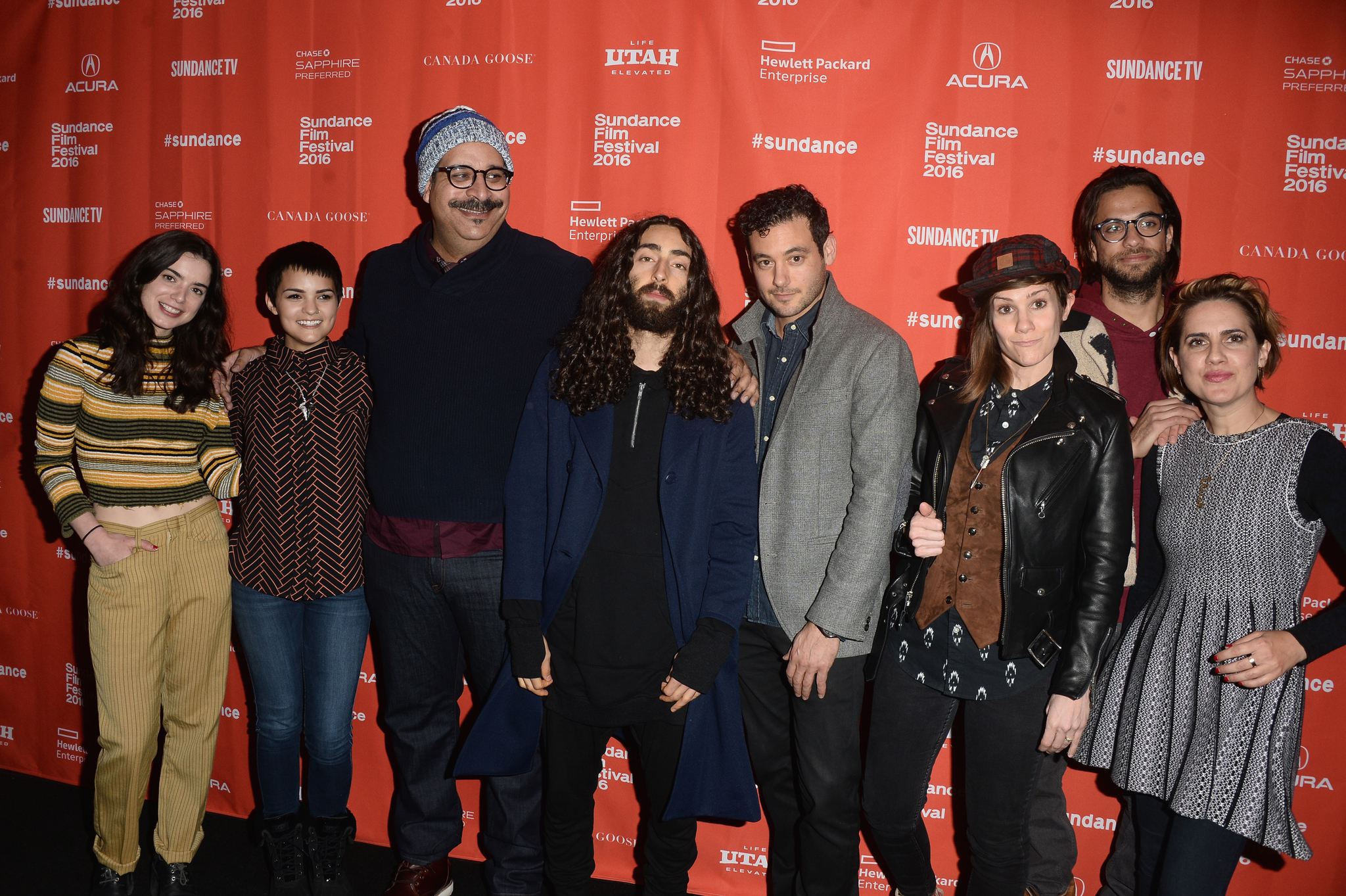 Jennifer Prediger, Mateo Arias, Kerem Sanga, Erik Griffin, Dylan Gelula, Cameron Esposito, and Brianna Hildebrand at an event for First Girl I Loved (2016)