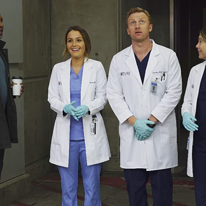 Kevin McKidd, James Pickens Jr., Ellen Pompeo, and Camilla Luddington in Grey's Anatomy (2005)