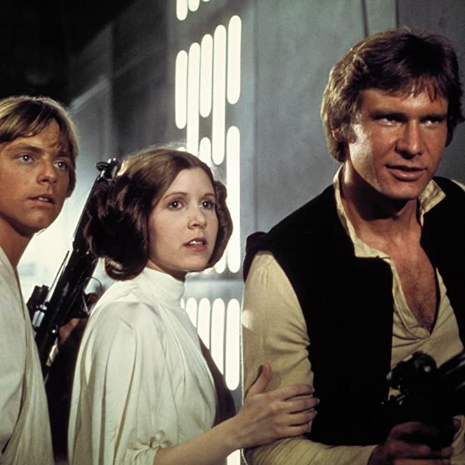 Harrison Ford, Carrie Fisher, and Mark Hamill in Star Wars: Episode IV - A New Hope (1977)