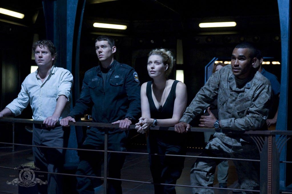 Alaina Huffman, Jamil Walker Smith, Patrick Gilmore, and Brian J. Smith in SGU Stargate Universe (2009)