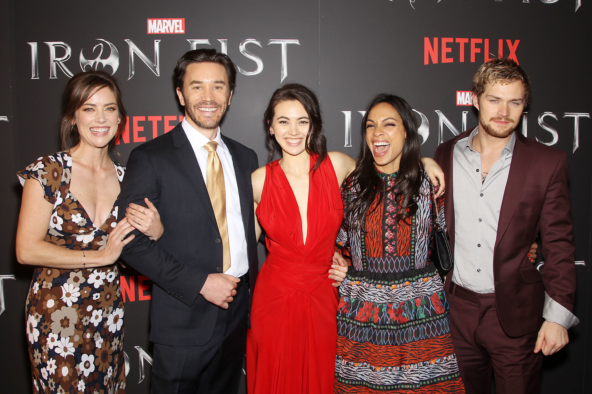Rosario Dawson, Tom Pelphrey, Jessica Stroup, Finn Jones, and Jessica Henwick at an event for Iron Fist (2017)