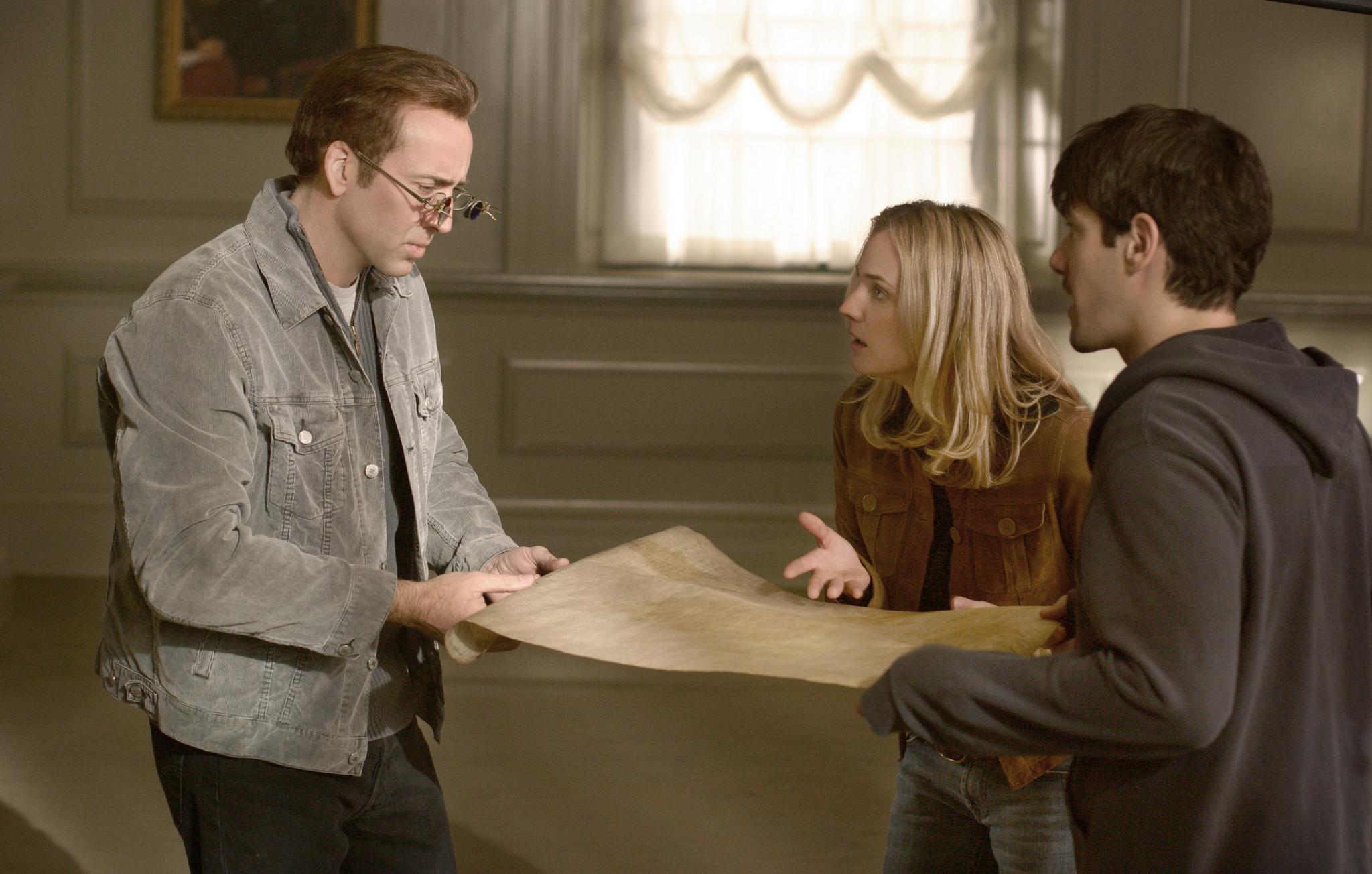 Nicolas Cage, Justin Bartha, and Diane Kruger in National Treasure (2004)