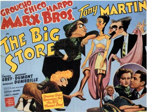Groucho Marx, Virginia Grey, Tony Martin, Chico Marx, and Harpo Marx in The Big Store (1941)