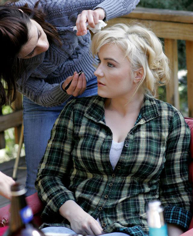 Behind the Scenes - On Set for feature film, ABSTRACTION - Actress Natalie Victoria getting make-up touchups.