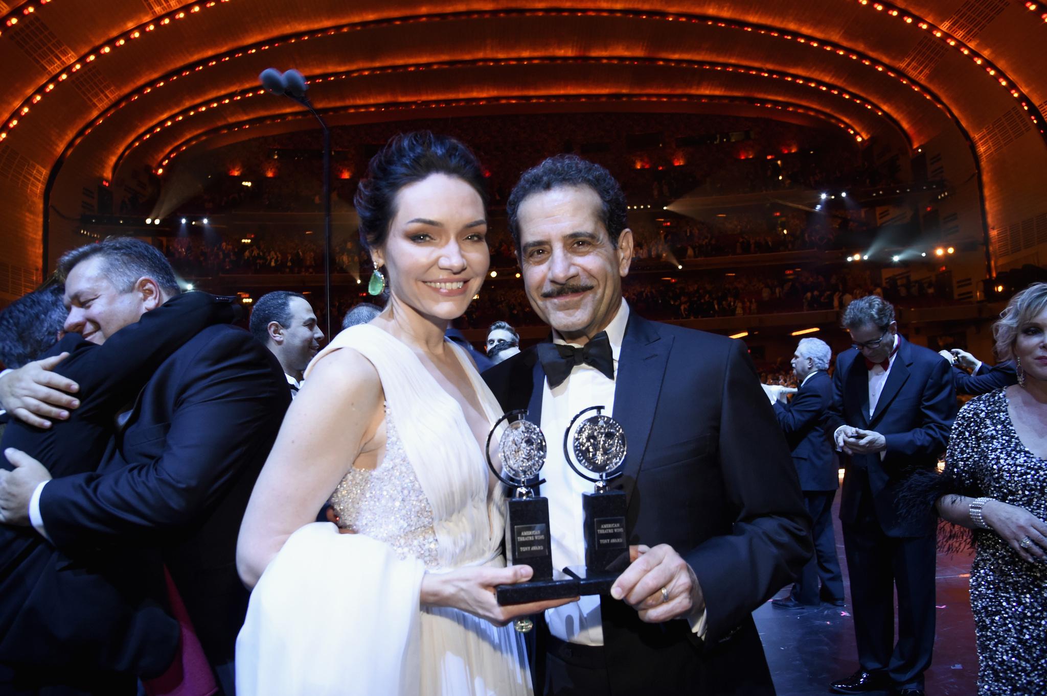 Tony Shalhoub and Katrina Lenk at an event for The 72nd Annual Tony Awards (2018)