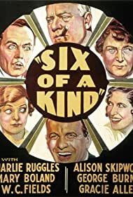 W.C. Fields, Gracie Allen, Mary Boland, George Burns, Charles Ruggles, and Alison Skipworth in Six of a Kind (1934)
