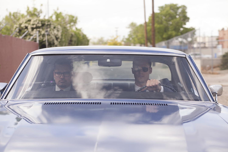 Alexander Skarsgård and Michael Peña in War on Everyone (2016)
