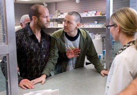 Jason Statham, Stephanie Mace, and Chester Bennington in Crank (2006)