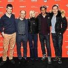 Jason Isaacs, Armando Iannucci, Hussain Currimbhoy, Andrea Riseborough, and Christopher Willis at an event for The Death of Stalin (2017)