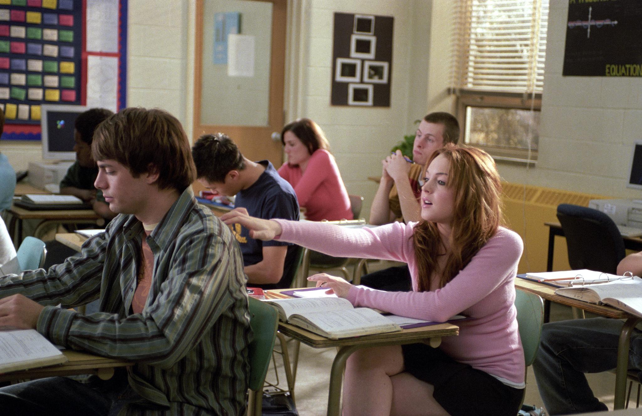 Lindsay Lohan and Jonathan Bennett in Mean Girls (2004)