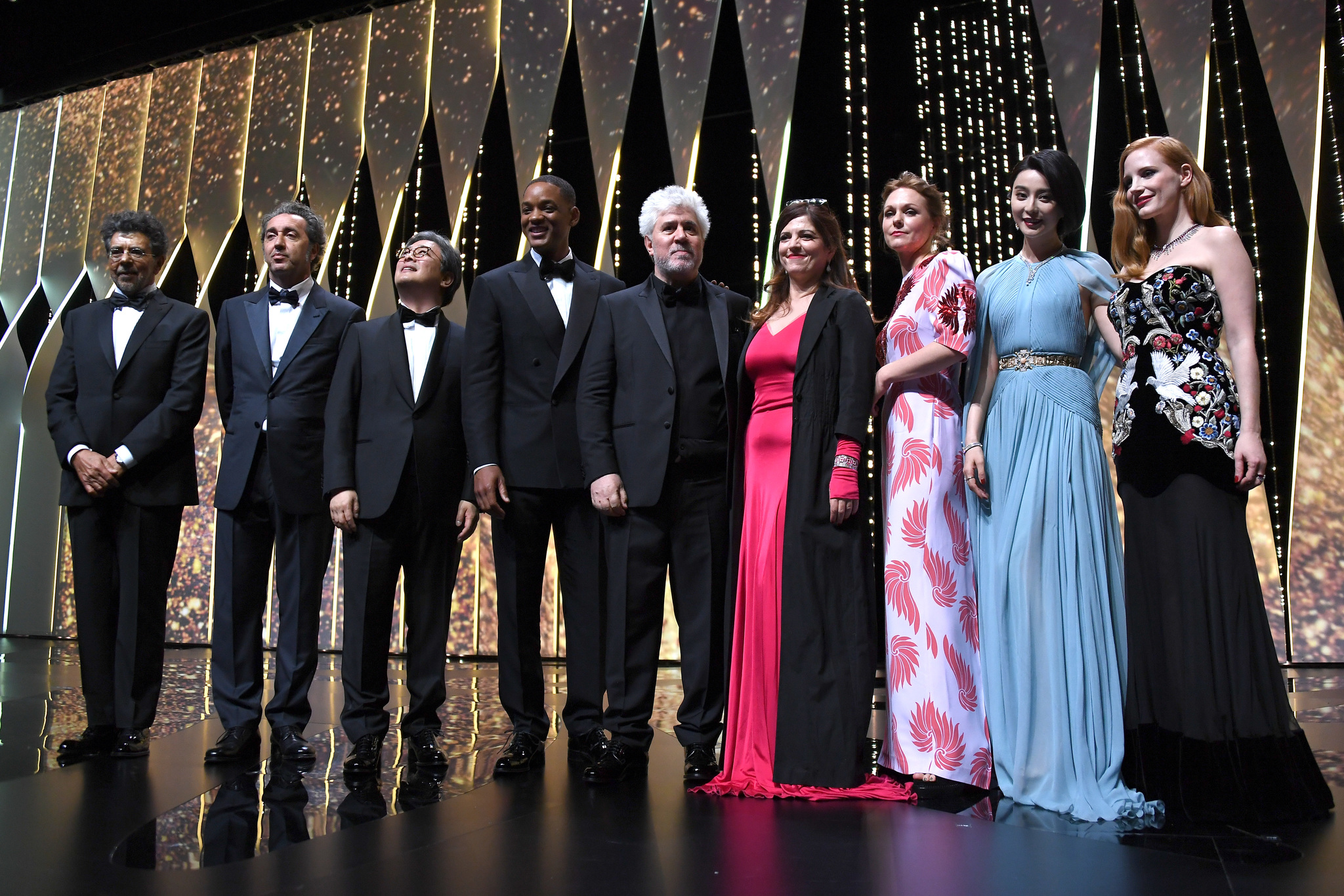 Will Smith, Pedro Almodóvar, Gabriel Yared, Maren Ade, Agnès Jaoui, Chan-wook Park, Paolo Sorrentino, Bingbing Fan, and Jessica Chastain