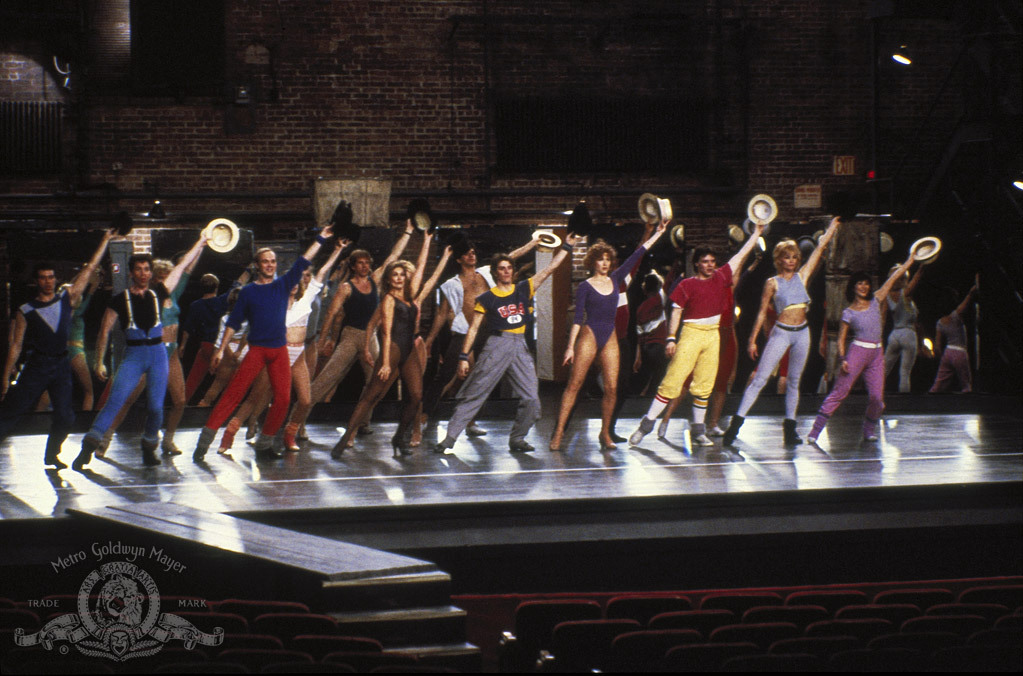 Michael Blevins, Jan Gan Boyd, Vicki Frederick, Janet Jones, Charles McGowan, Alyson Reed, Justin Ross, and Matt West in A Chorus Line (1985)