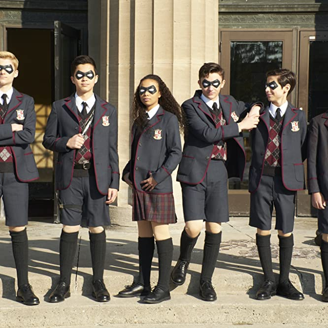 Dante Albidone, Aidan Gallagher, Cameron Brodeur, Eden Cupid, Ethan Hwang, and Blake Talabis in The Umbrella Academy (2019)