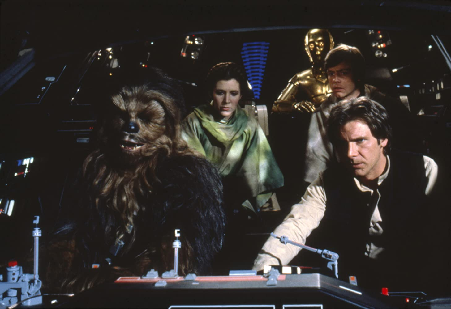 Harrison Ford, Anthony Daniels, Carrie Fisher, Mark Hamill, and Peter Mayhew in Star Wars: Episode VI - Return of the Jedi (1983)