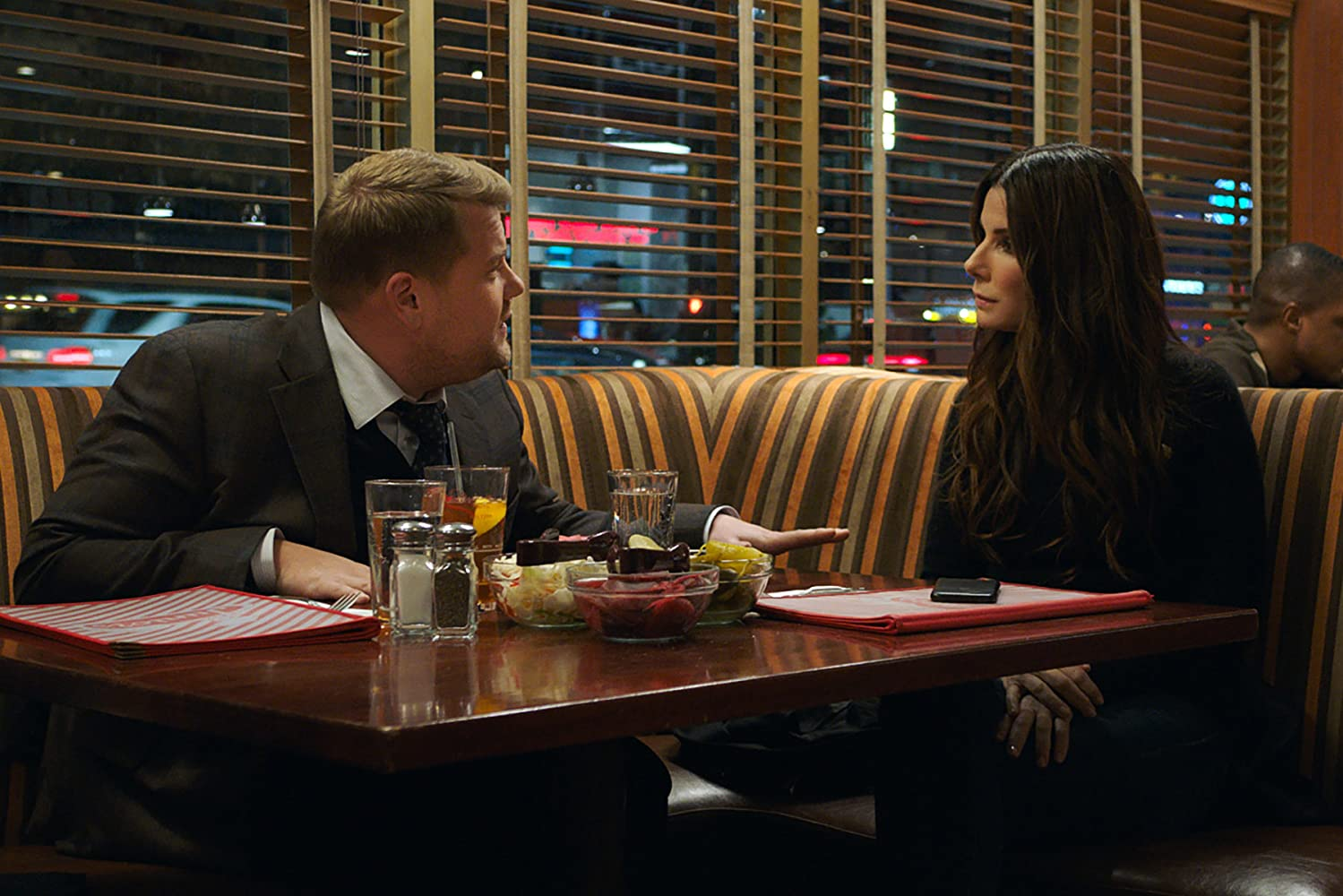 Sandra Bullock and James Corden in Ocean's 8 (2018)